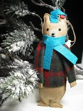 West Elm MIMI KIRCHNER Felted BEAR Wool Christmas Ornament NEW