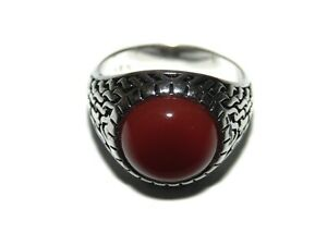 Mens Ring Silver Platted Carnelian Cabochon Ornate Sides Signet US Size 10 925