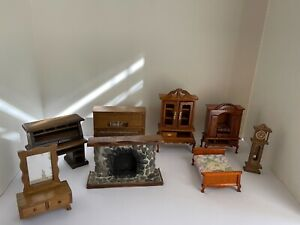 Assorted Dollhouse Furniture Wood Lot For Parts or Repair Piano Fireplace Chest