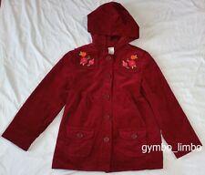 Gymboree Butterfly Girl Size 7 8 Burgundy Velveteen hooded JACKET Floral Coat