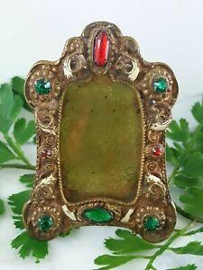 Antique Miniature Art Nouveau CZECH Jeweled and enamel Brass Frame Signed