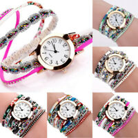 Elegant Women Watch Bracelet Crystal Leather Dress Analog Quartz Wrist Watch New