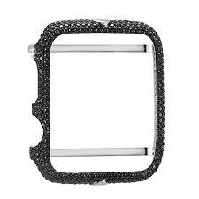 Sterling Silver Apple Watch Bezel Black Simulated Diamonds 42mm Custom New