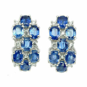 Earrings Blue Kyanite Genuine Natural Gems Solid Sterling Silver Cluster Design