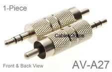 """3.5mm 1/8"""" TRS Stereo Male to RCA Male Metal Adapter, CablesOnline AV-A27"""
