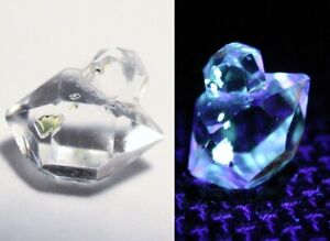 1.6ct Rare Fluorescent Petroleum Enhydro Oil Diamond Quartz Crystal 9x7mm