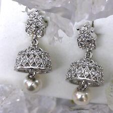 bezaubernd romantisch Ohrstecker Handgeschmiedet 925 Silber Zuchtperle Zirkonia