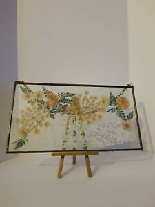Antique Handmade Pressed Flowers With Lace Panal Glass Sun Catcher
