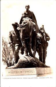 Postcard Pioneer Mother Statue Penn Valley Park in Kansas City, Missouri~611
