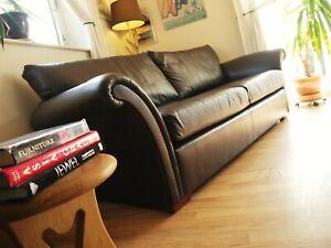 Duresta Hogarth Brown Hide Leather Medium Three Seater Sofa settee suite 3 seat