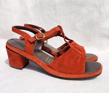 Vintage Hush Puppies Burnt Orange Leather Block Heel Sandals Womens Sz 7.5
