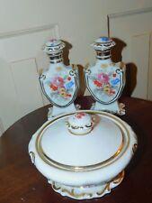 VINTAGE FBS porcelain CZECHOSLOVAKIA dresser set perfume bottles and box floral