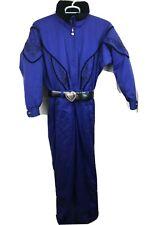 Women's Vintage Obermeyer Ski Suit Belt Blue Black Size 10 Heart
