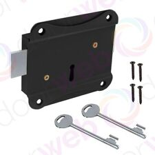 RIM PRESS LOCK Face Fixing for Shed Door or Gate in Black with 2 keys 75mm