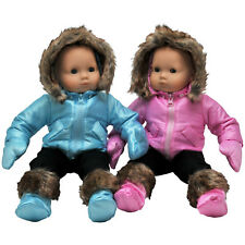 Set of Two Complete Bitty 15 Inch Baby Doll Twin Pink & Blue Winter Ski Clothes