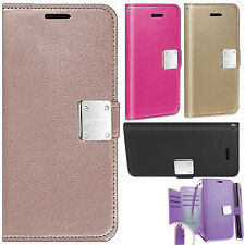 Samsung Galaxy J7 Refine Flip Out Pocket Leather Wallet Case Pouch +Screen Guard