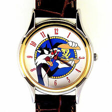 Tweety, Sylvester, Fossil Man/Lady Easy Read, Leather Band Watch Hard 2 Find $99