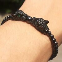 New Fashion Men's Rhodium Plated Zircon Panther Leopard Head Macrame Bracelet