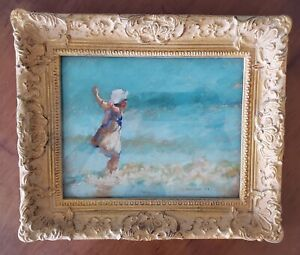 VTG Joanne Ballinger, CT Framed Contemporary Pastel Painting Child at the Beach