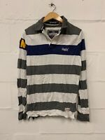 "Superdry Men's ""Hoop Stripe Polo"" Long Sleeve Shirt Top Size M Medium Grey White"