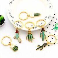 Succulent Plant Cactus Metal Handbag Pendant Key Holder Key Ring Key Chain