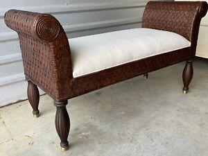 MINT Ethan Allen Wakeby Bench Rattan Vanity Bedroom Hall 13-7028 British Classic