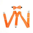 Orange Polka Dot Suspender and Bow Tie Baby Toddler Kids Boys Girls Combo Set