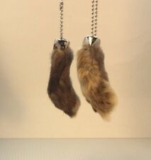 2 x Real Rabbit Foot Lucky Keychain NATURAL BROWN Vraie Patte de Lapin Chanceuse