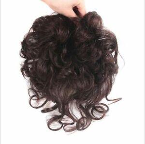 100% Human Hair Wig Curly Hairpiece Topper Toupee Top Clip Short Wigs Women Men