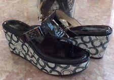 Coach Jan Crinkle Black Patent Optical Thong Wedge Sandal Sz 7B EUC!  MSRP $128