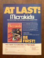 1984 Microkids Magazine Vintage Print Ad/Poster Computers 80s Pop Art Decor