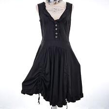 Robe Femme ARELINE Tissu Fluide Effet Boule Lacets Noir Soirée 36 38 VICTORINA