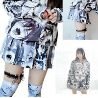 Harajuku Ahegao Emoji Face Shirt Coat Pleated Skirt Japan Harajuku Anime Costume