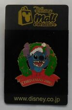Japan Disney Mall Pin Stitch with Christmas Wreath Pin LE250