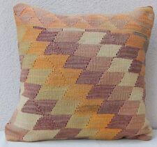 20'' x 20'' Antique Pastel Pale Color Wool Kilim Pillow Cover, Housse de Coussin