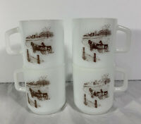 Vintage Galaxy Milk Glass Cups Mugs Set of 4 | Western Horse Wagon | D Handles