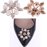 1Pc Faux pearl women shoe clip decor bridal shoes rhinestone clip buckl_AU