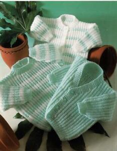 Baby Knitting pattern copy Cardigan & Jumper Ribbed Fisherman 8 Ply
