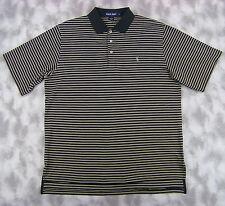 Polo Golf Ralph Lauren Mens Short Sleeve Polo Shirt Large Black Tan Striped Pima