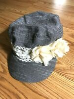 Manhattan Hat Company Hat Womens Floral Gray White Off White Flowers OSFM