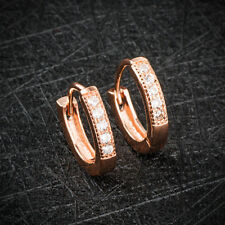 18K Rose Gold Plated Women Small Round CZ Zircon /Hoop/Loop/Circle Earrings