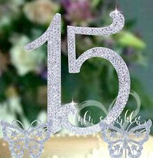 Quinceanera 15th Birthday Cake Topper with 2 crystal rhinestone butterfly's