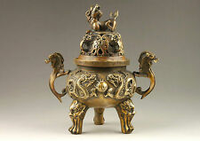 Chinese Hand Sculpture Dragon & Lion Lid Statues Brass Incense Burner NR