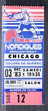 Quebec Nordiques vs Chicago Blackhawks December 3 1983 Vintage Ticket Stub