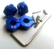 RC 1/10 Auto 12mm HEX 6mm Alloy Bloccaggio Lock Ruota Cerchio Adattatore HUB Adattatore Blu