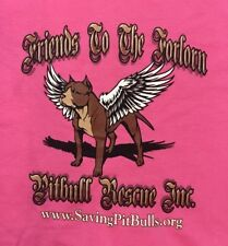 NWOT Friends To The Forlorn Pitbull Rescue Classic Logo Pink Tshirt XL