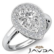Pear Diamond Engagement Beautiful Pre-Set Ring GIA I VS2 Platinum 950 1.36 ct