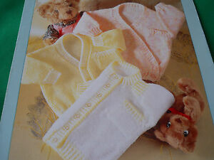Babies  v neck,round neck and cross-over cardigans  size 16-22 knitting pattern