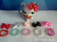 accessories for lps littlest pet shop 10 items bows necklaces  cat not included