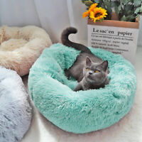 Soft Plush Round Pet Bed for Cats Small Dogs Self Warming Snooze Sleeping Nest